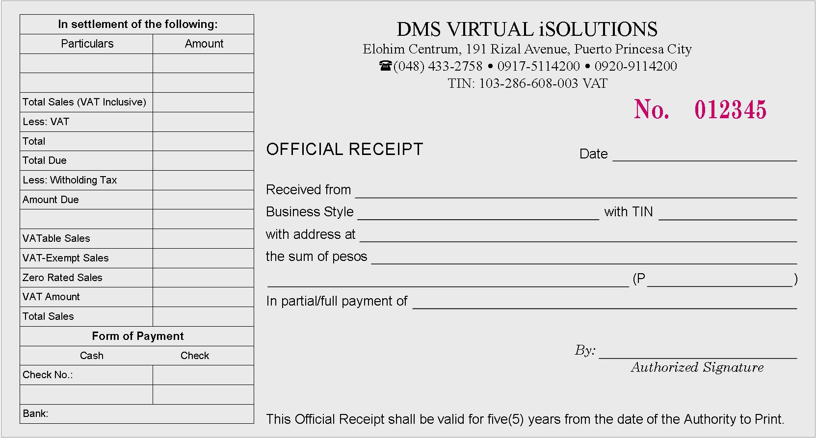 Conventional Official Receipt
